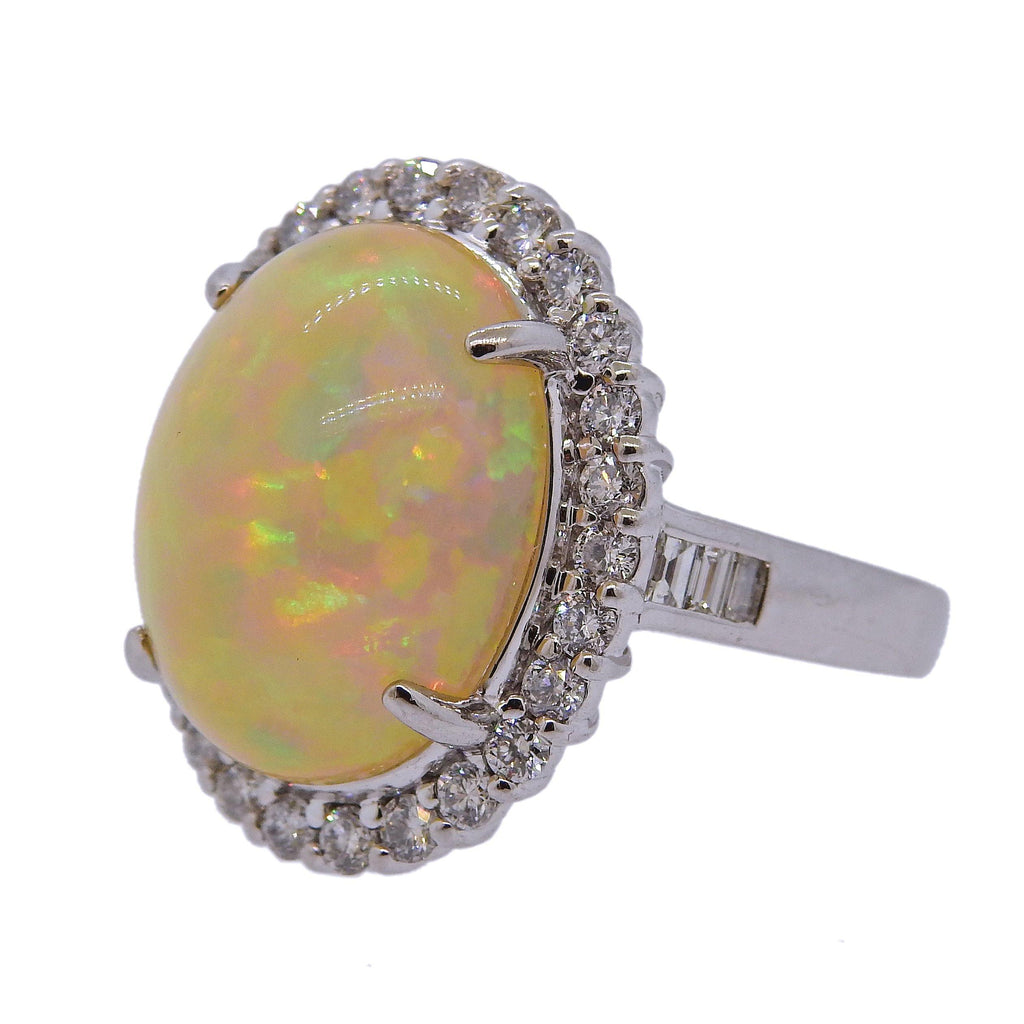 thumbnail image of 11.39ct Opal Diamond Platinum Cocktail Ring