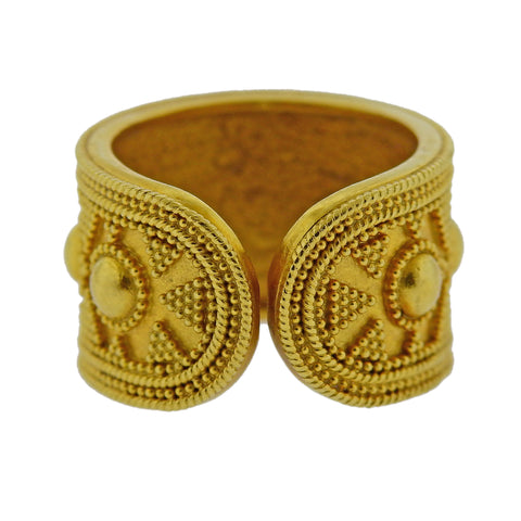 image of Lalaounis Greece Gold Cuff Band Ring