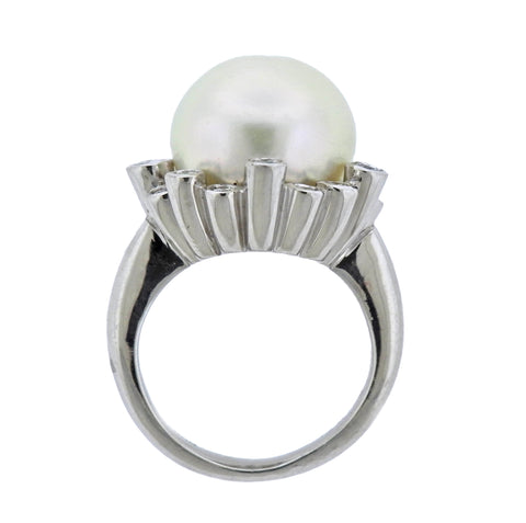 image of South Sea Pearl Diamond Platinum Ring