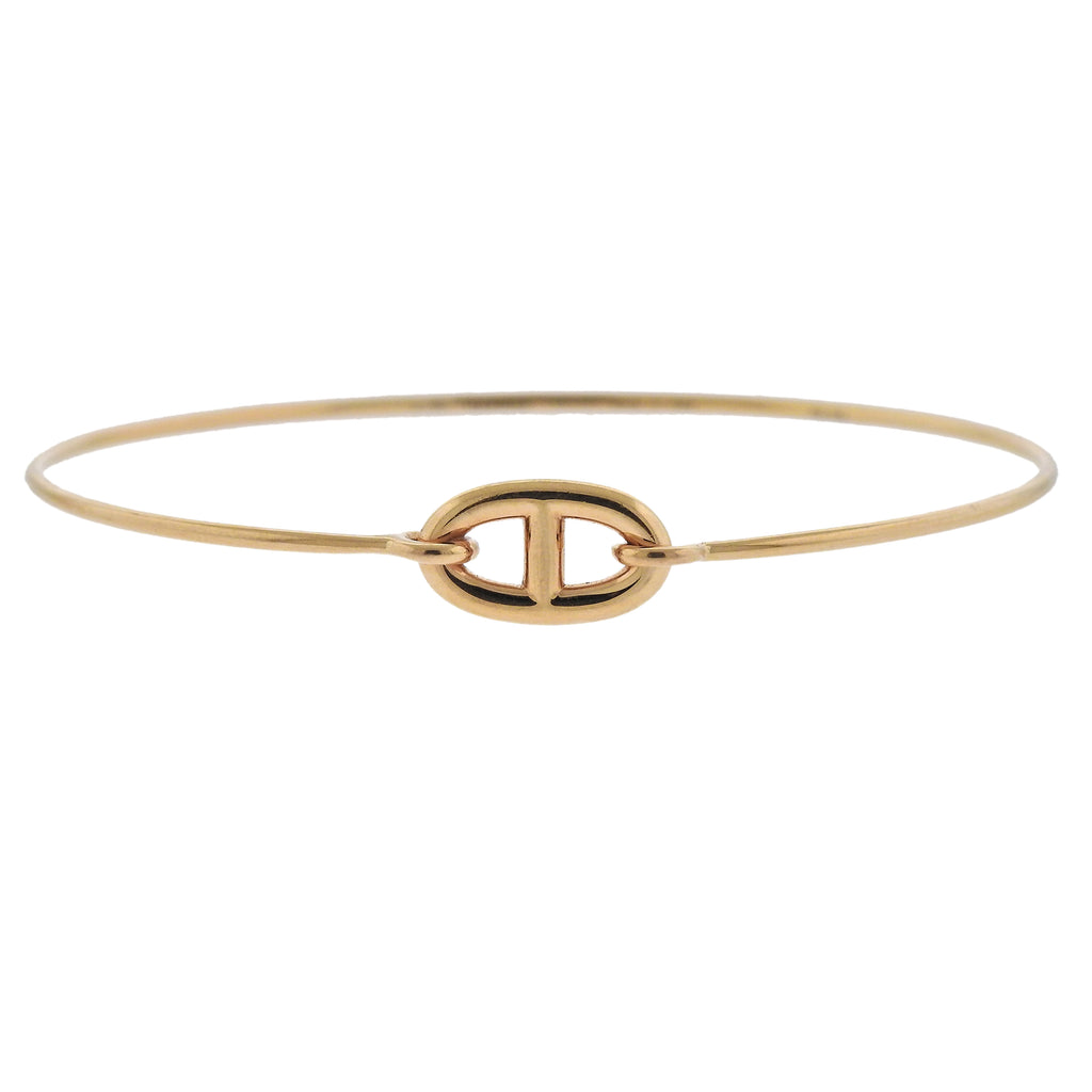 thumbnail image of Hermes Ronde H Chaine Ancre Small Gold Bangle Bracelet