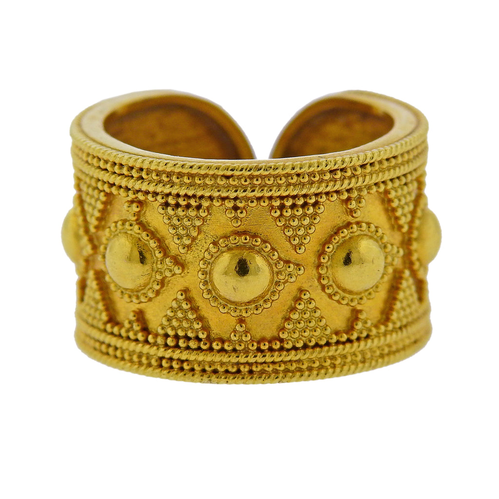 thumbnail image of Lalaounis Greece Gold Cuff Band Ring