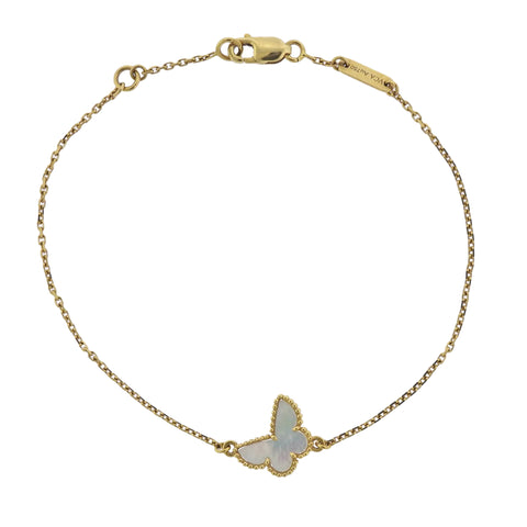 image of Van Cleef & Arpels Sweet Alhambra Mother of Pearl Butterfly Gold Bracelet