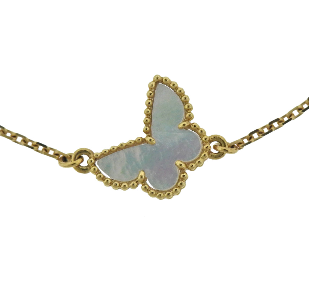 thumbnail image of Van Cleef & Arpels Sweet Alhambra Mother of Pearl Butterfly Gold Bracelet