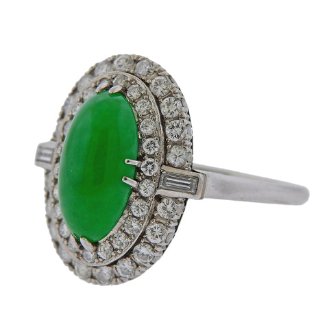 image of Mid Century Jade Diamond Platinum Ring