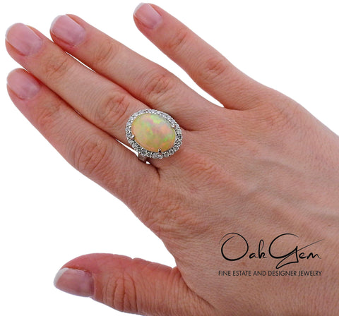 image of 11.39ct Opal Diamond Platinum Cocktail Ring