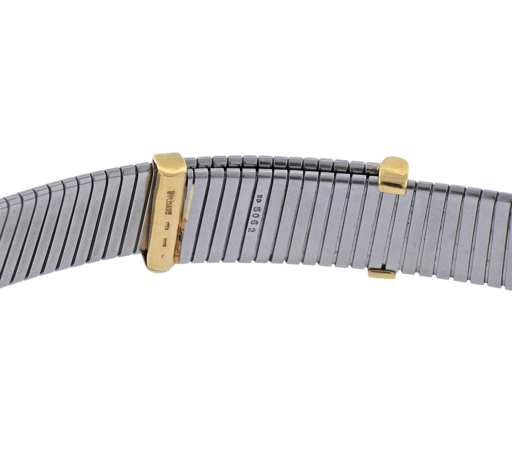 thumbnail image of Bulgari Tubogas Wide Steel Gold Necklace