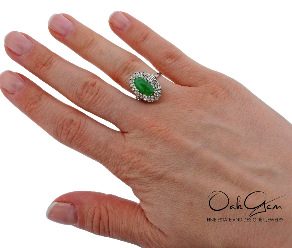 thumbnail image of Mid Century Jade Diamond Platinum Ring
