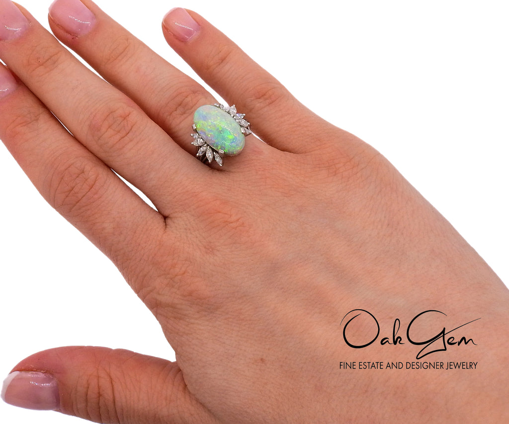 thumbnail image of 5.19ct Opal Diamond Platinum Ring