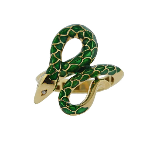 image of Oakgem Diamond Green Enamel Gold Snake Ring