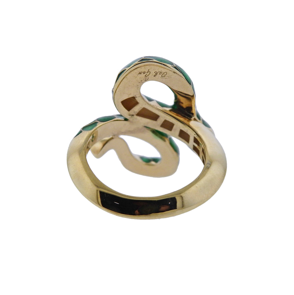 thumbnail image of Oakgem Diamond Green Enamel Gold Snake Ring