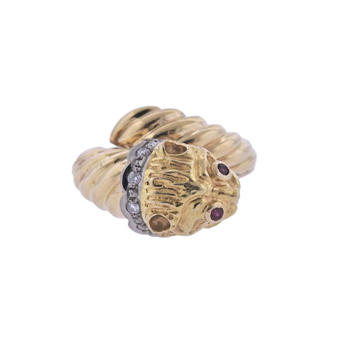 image of Lalaounis Greece Gold Diamond Ruby Chimera Ring