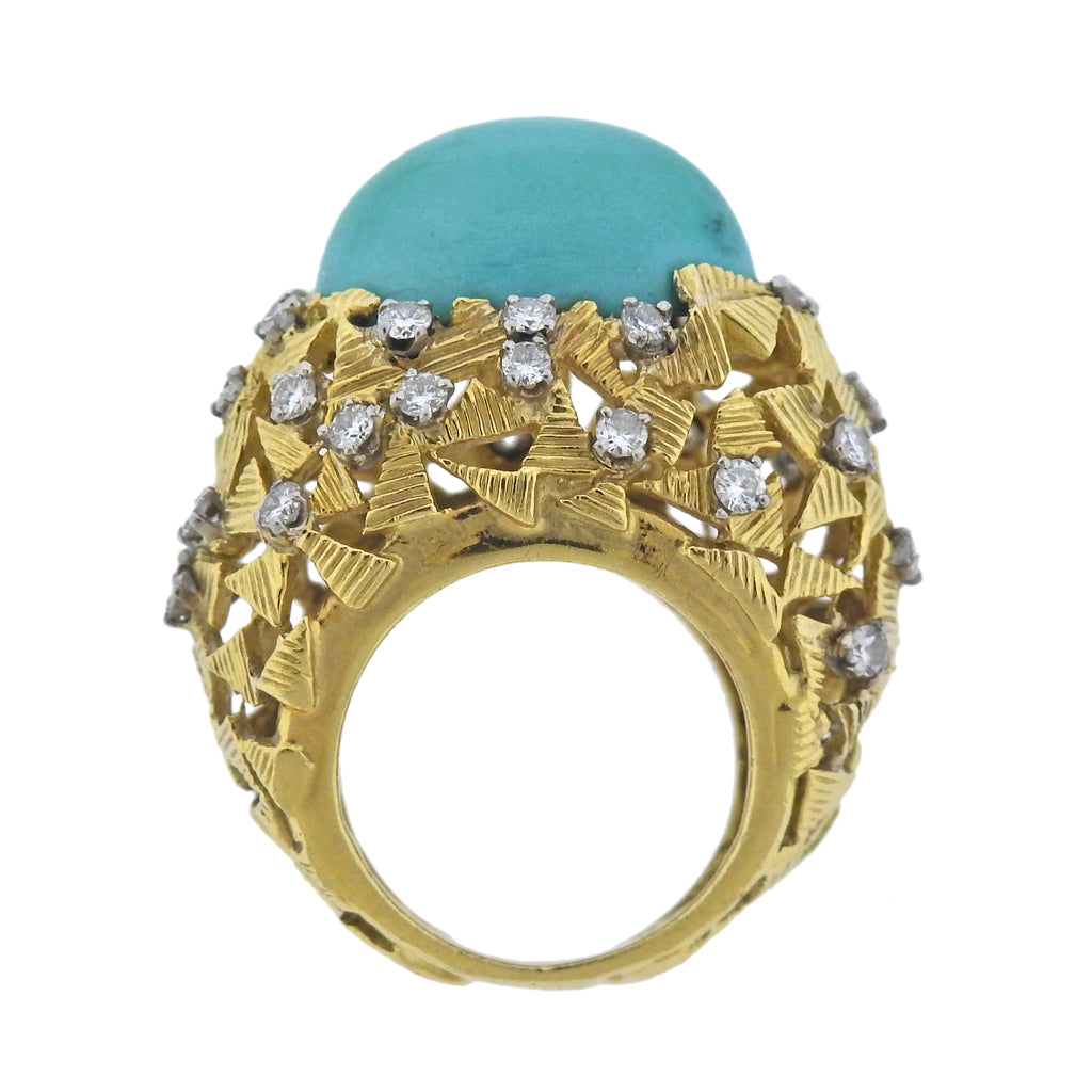 thumbnail image of 1970s Turquoise Diamond Gold Ring