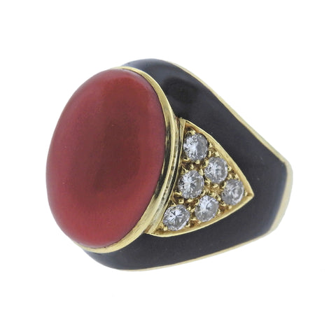 image of Coral Diamond Enamel Gold Ring
