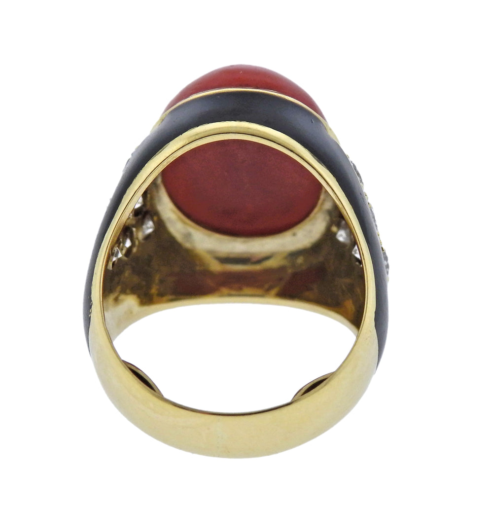 thumbnail image of Coral Diamond Enamel Gold Ring