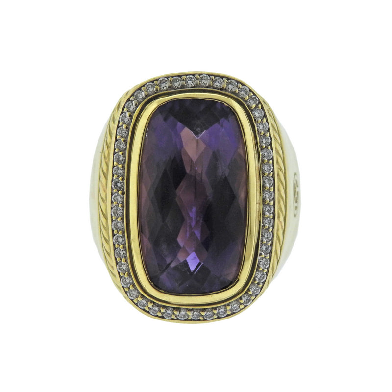 thumbnail image of David Yurman Albion Amethyst Diamond Gold Ring