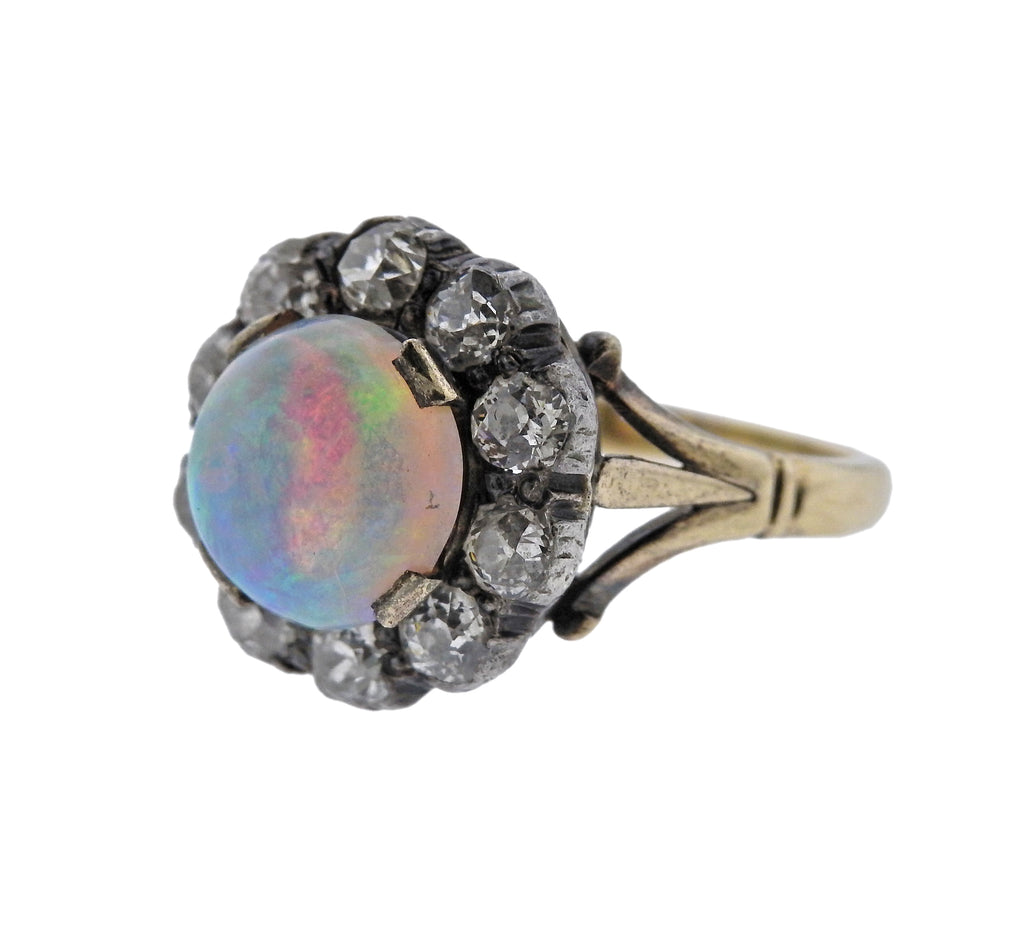 thumbnail image of Antique Opal Diamond Gold Silver Ring