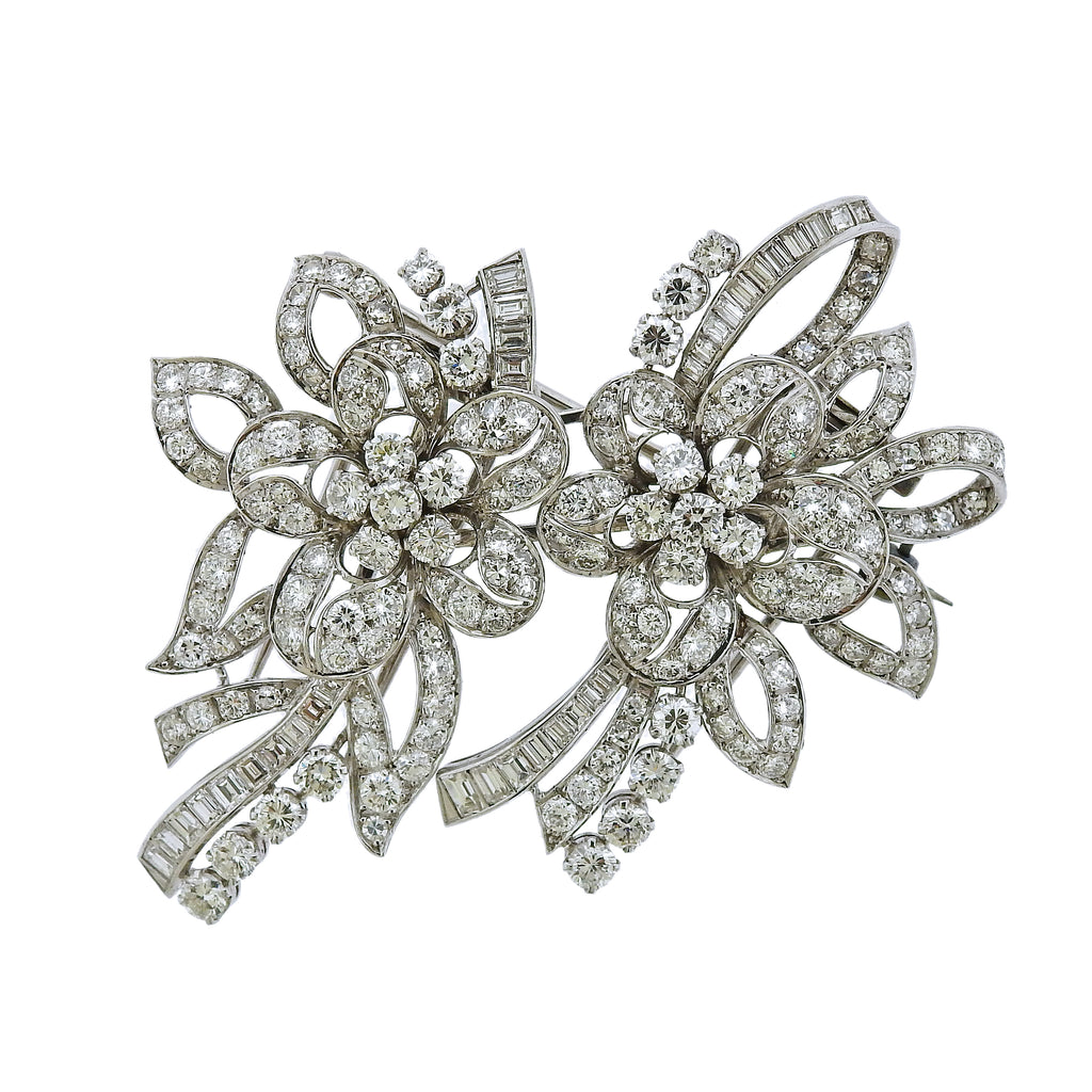 thumbnail image of Platinum 13 Carat Diamond Double Clip Brooch Set