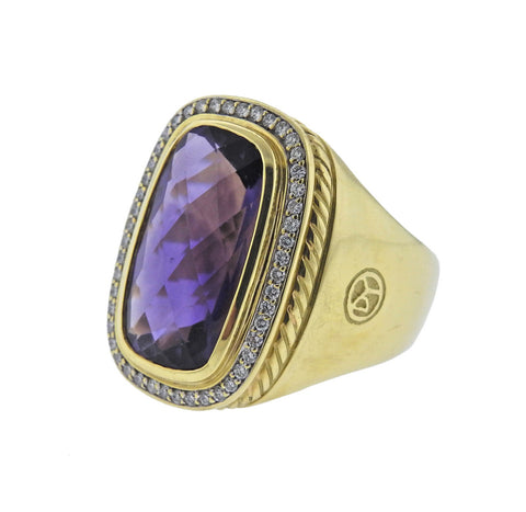 image of David Yurman Albion Amethyst Diamond Gold Ring