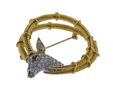 image of Tiffany & Co Schlumberger Ibex Diamond Ruby Gold Platinum Brooch