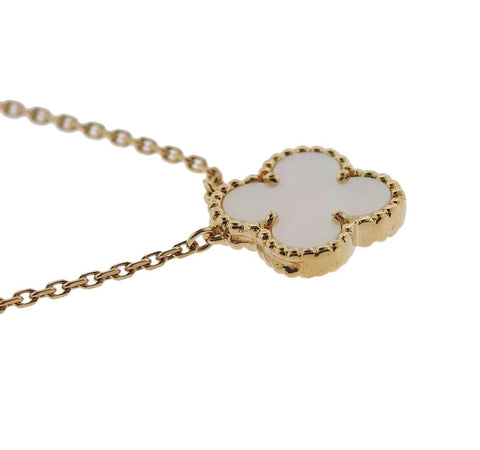 image of Van Cleef & Arpels Vintage Alhambra Mother-of-Pearl Gold Pendant Necklace