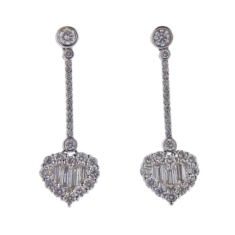 Gregg Ruth 1.95ctw Diamond Gold Heart Drop Earrings