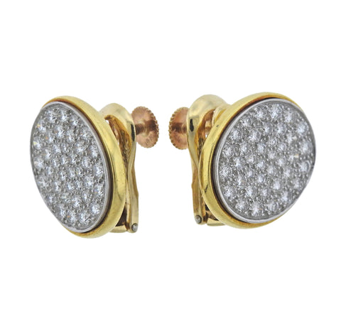 image of Rare Cartier Dinh Van Diamond Platinum Gold Earrings