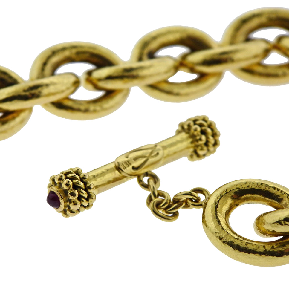 thumbnail image of Elizabeth Locke Ruby Gold Toggle Oval Link Bracelet