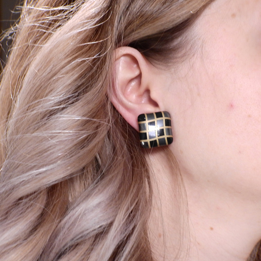 thumbnail image of Angela Cummings Black Jade Hematite Gold Inlay Checkered Earrings