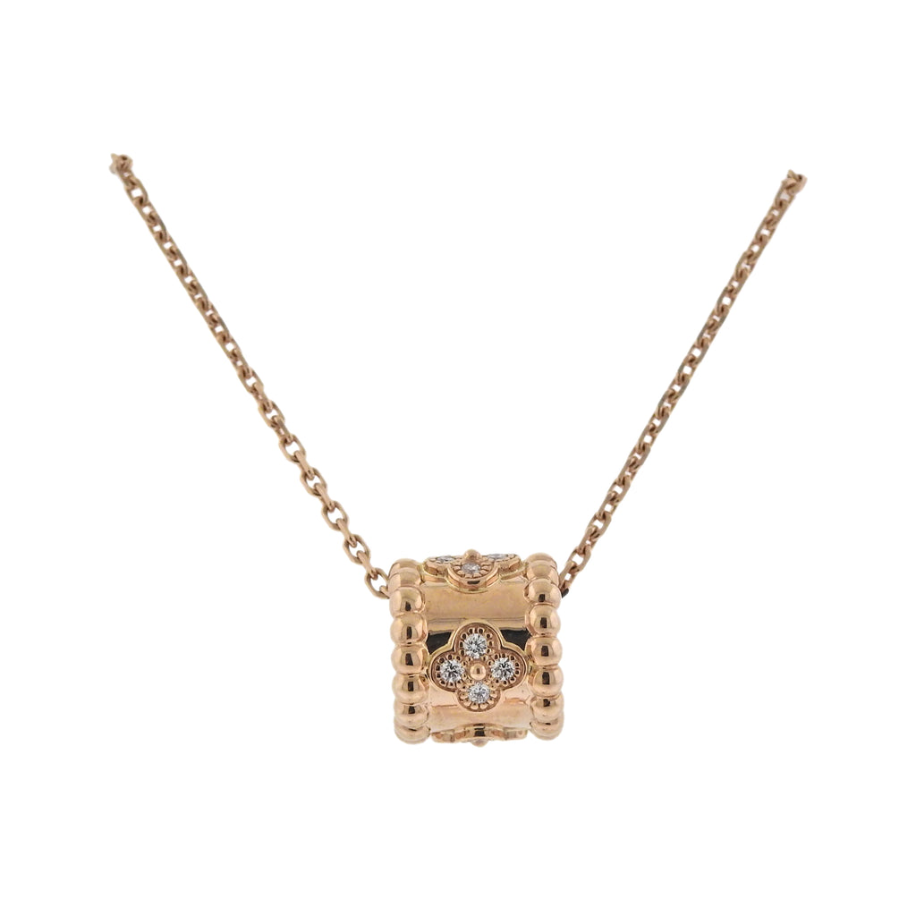 776852862 Home » Van Cleef & Arpels Perlee Clovers Diamond Rose Gold Pendant  Necklace. If you have a similar item that you wish to sell, Please contact  us