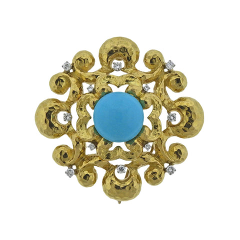 image of David Webb Diamond Turquoise Gold Pendant Necklace