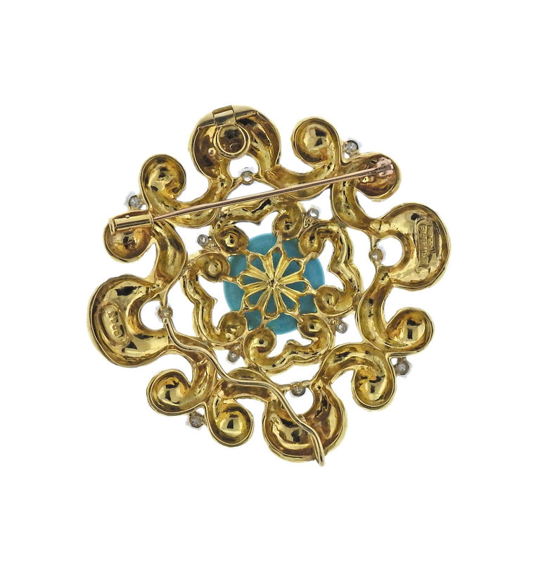 thumbnail image of David Webb Diamond Turquoise Gold Pendant Necklace