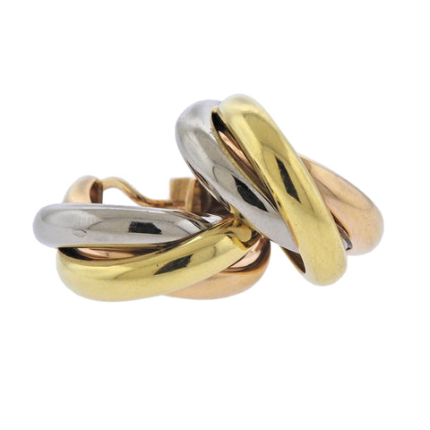 image of Cartier Trinity Tri Color Gold Hoop Earrings
