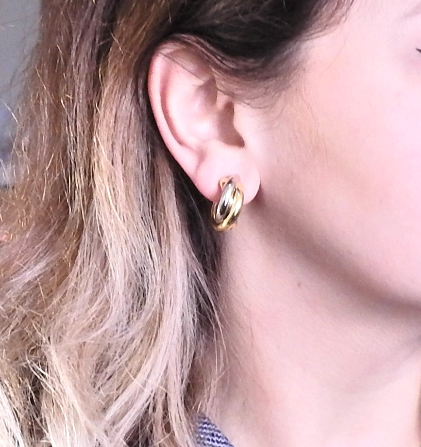 thumbnail image of Cartier Trinity Tri Color Gold Hoop Earrings
