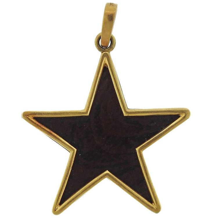 Ebony Wood Gold Star Pendant Oakgem Vintage and Designer Jewelry