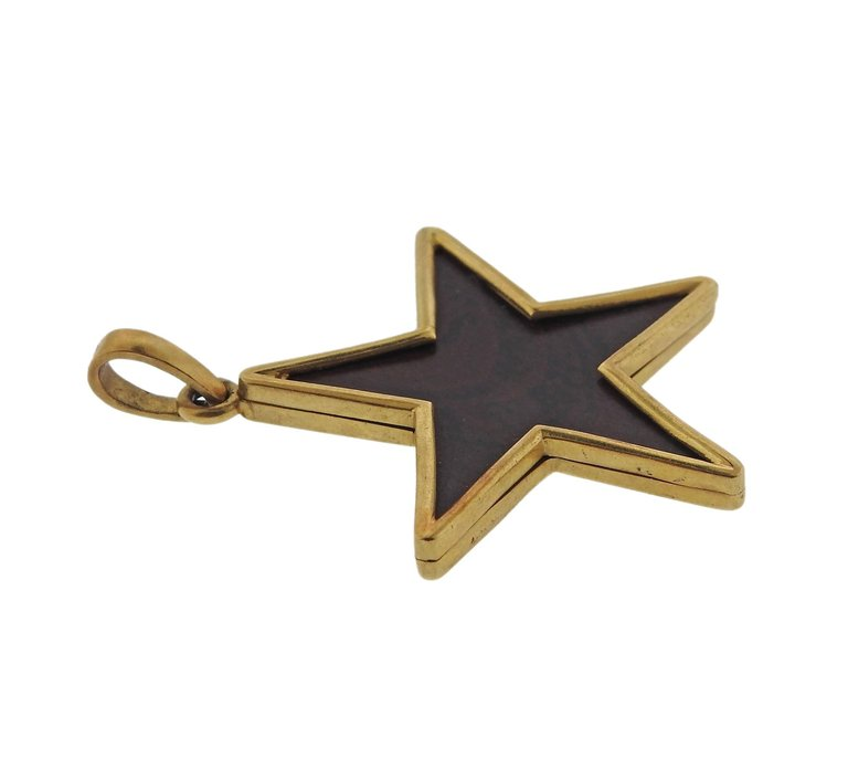 thumbnail image of Ebony Wood Gold Star Pendant