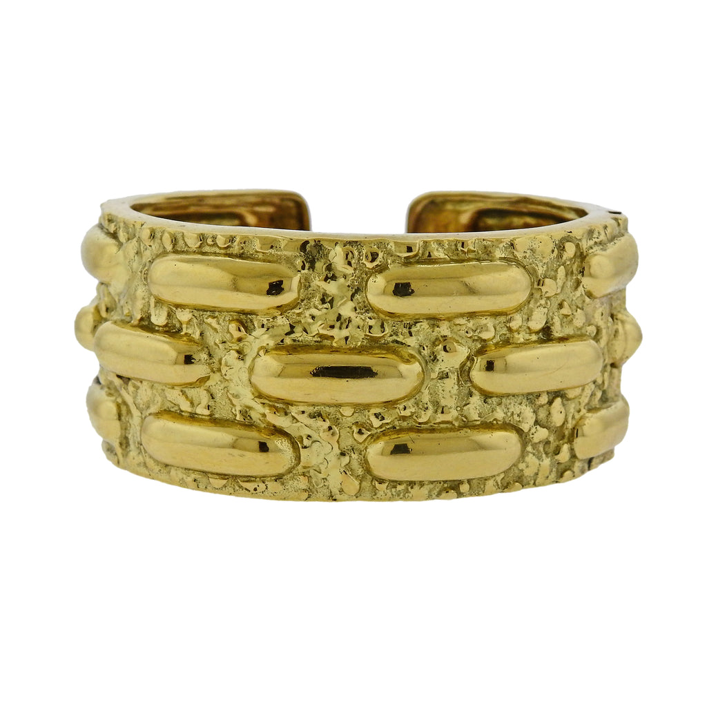 thumbnail image of David Webb Textured Gold Cuff Bracelet