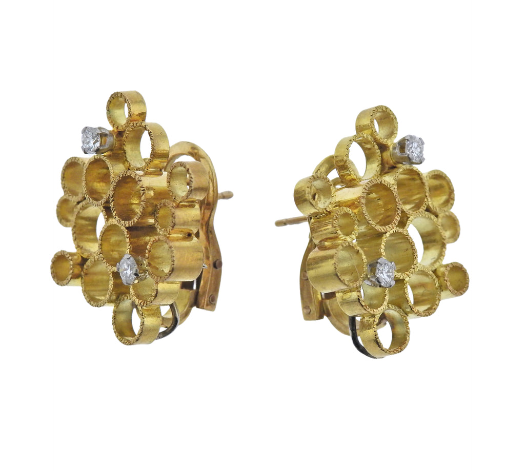thumbnail image of 1970 Andrew Grima Diamond Gold Honeycomb Earrings