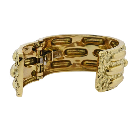 image of David Webb Textured Gold Cuff Bracelet