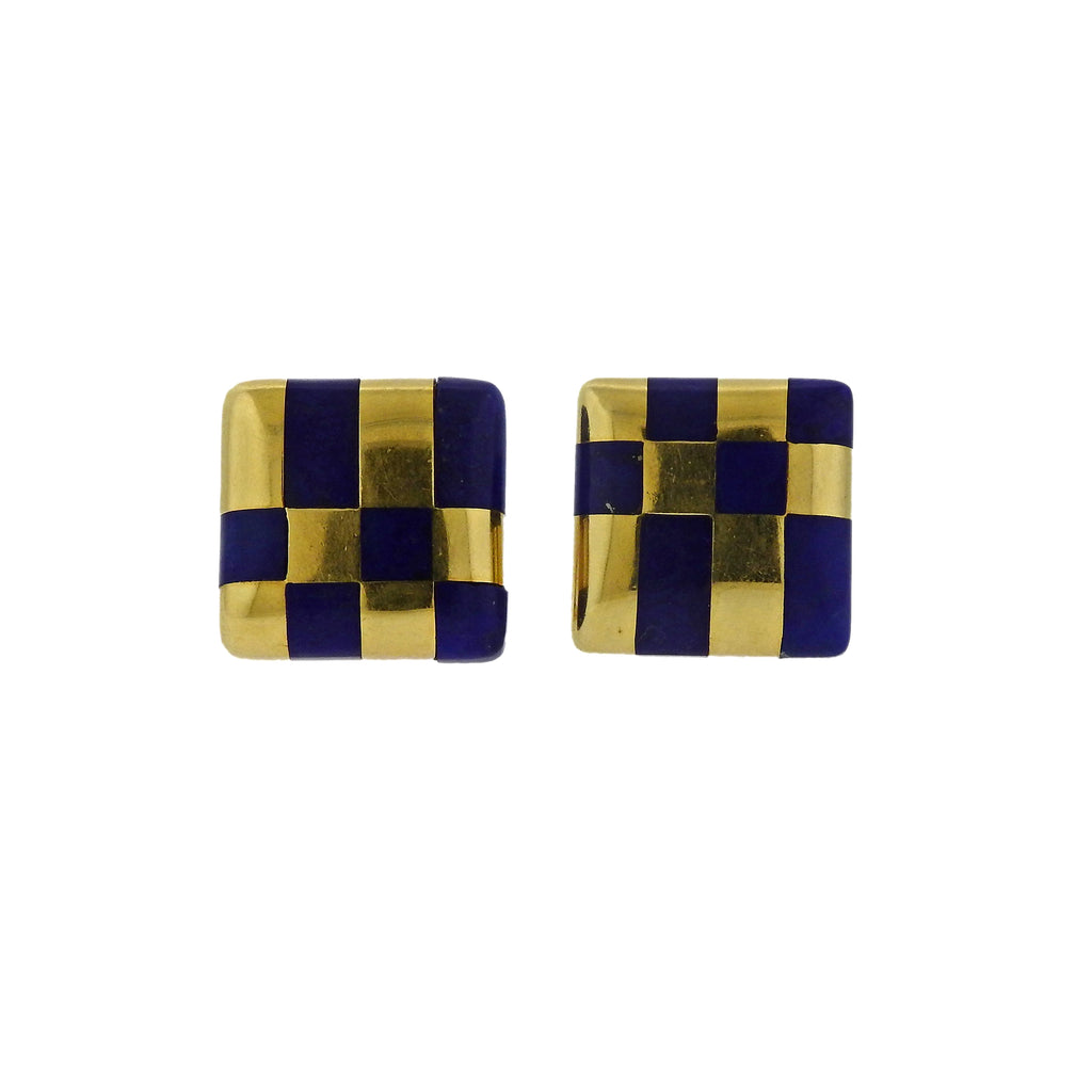 thumbnail image of Tiffany & Co Lapis Inlay Gold Checkered Earrings
