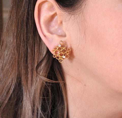 image of 1970 Andrew Grima Diamond Gold Honeycomb Earrings
