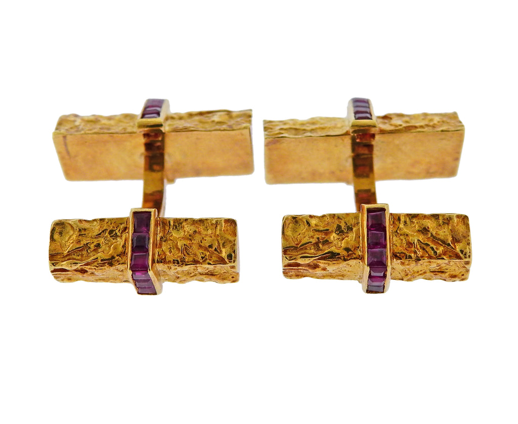 thumbnail image of Tiffany & Co Ruby Gold Cufflinks Stud Set