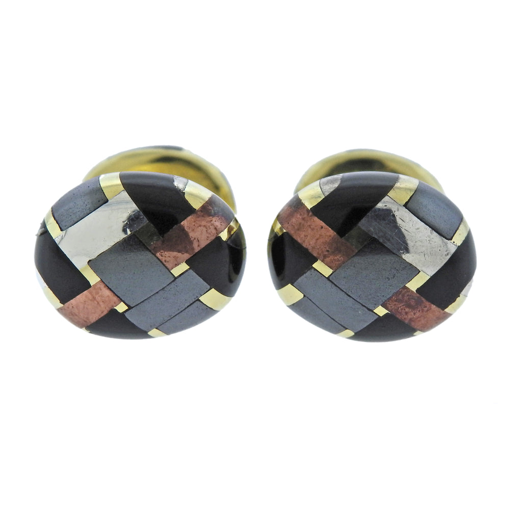 thumbnail image of 1980s Angela Cummings Mixed Metal Inlay Cufflinks