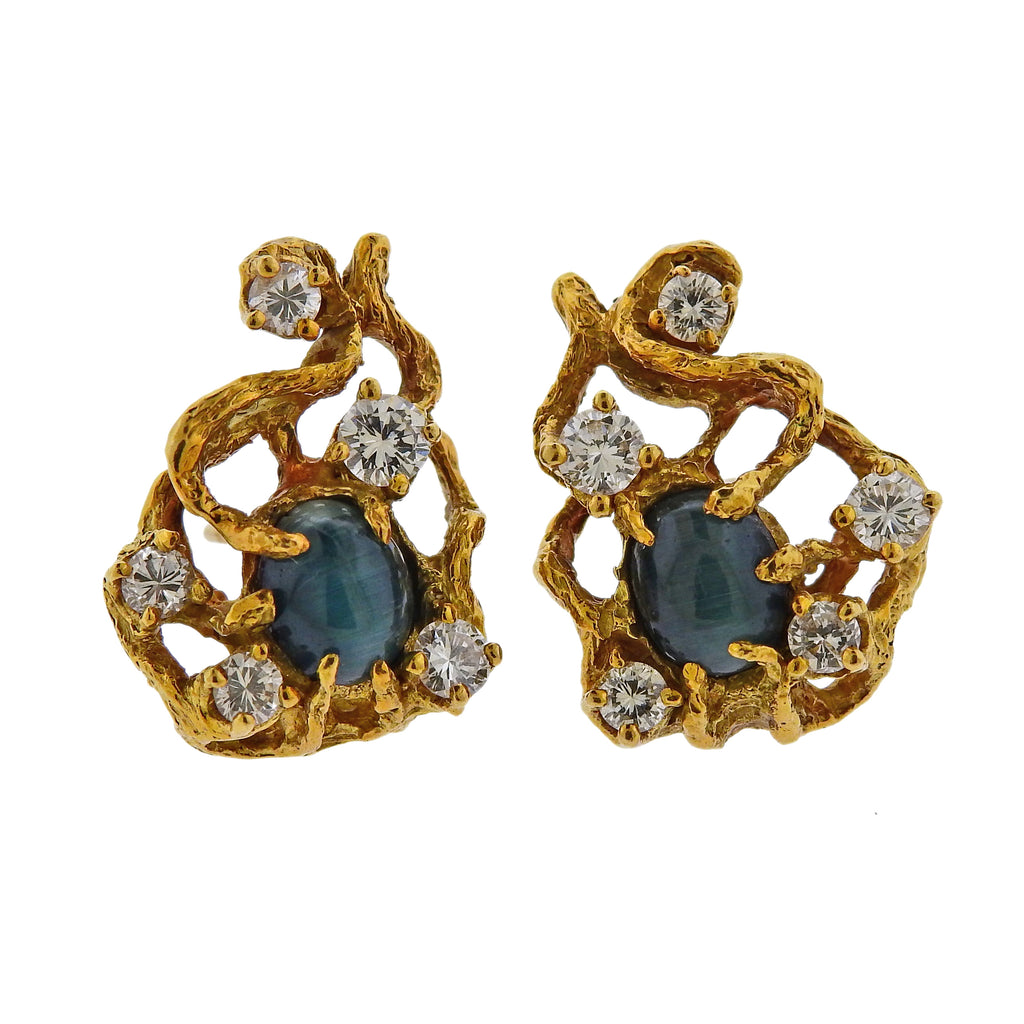 thumbnail image of Arthur King Diamond Cat's Eye Chrysoberyl Gold Earrings