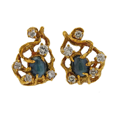 image of Arthur King Diamond Cat's Eye Chrysoberyl Gold Earrings
