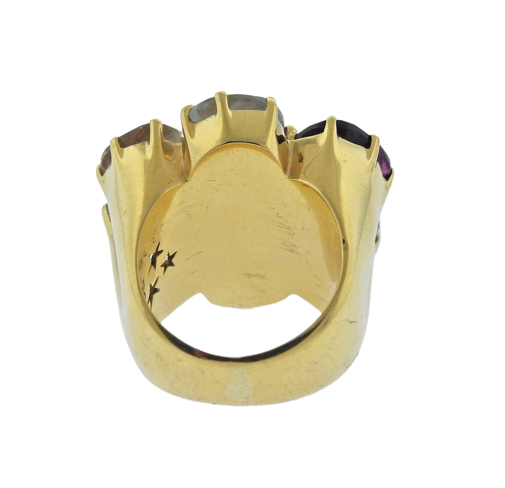 thumbnail image of H. Stern Diane Von Furstenberg Harmony Multicolor Gemstone Gold Ring