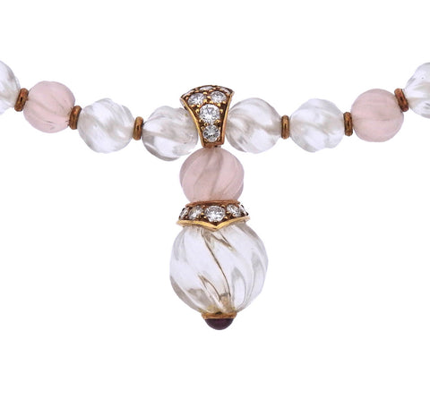 image of Boucheron 18k Gold Rose Quartz Crystal Diamond Necklace