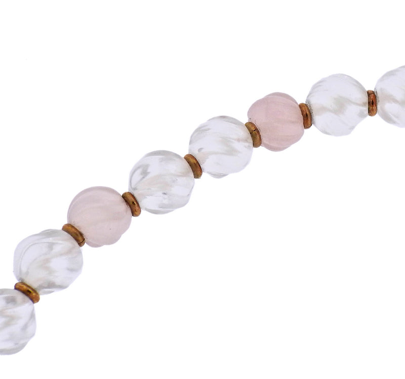 thumbnail image of Boucheron 18k Gold Rose Quartz Crystal Diamond Necklace