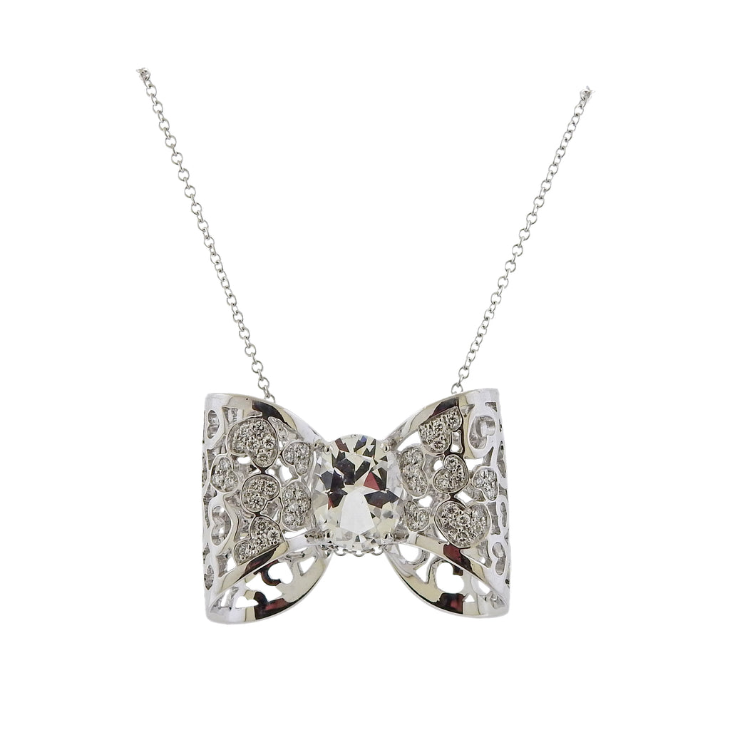 thumbnail image of Pasquale Bruni Diamond Rock Crystal Bow Pendant Necklace