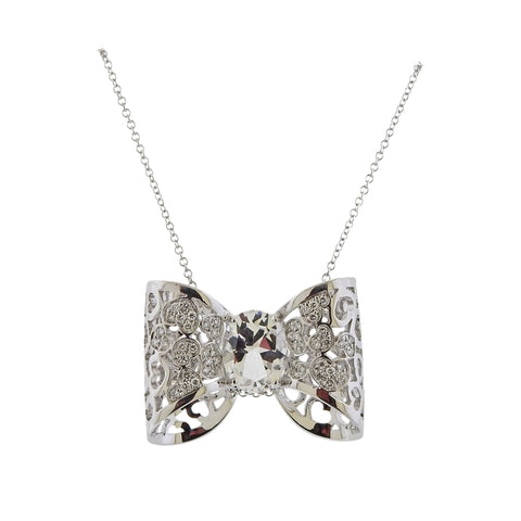 image of Pasquale Bruni Diamond Rock Crystal Bow Pendant Necklace