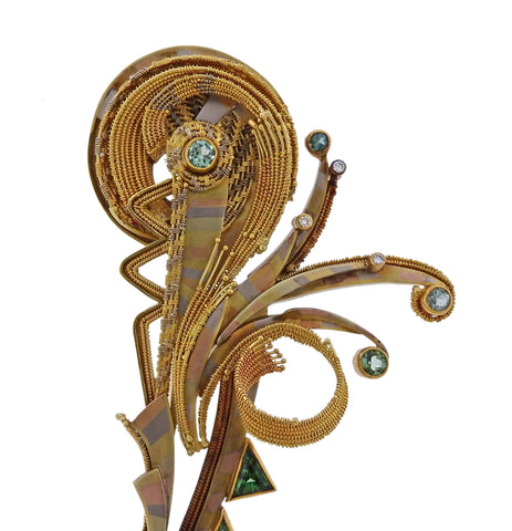 image of Vicky Eisenfeld Gold Gemstone Diamond Large Brooch Pin